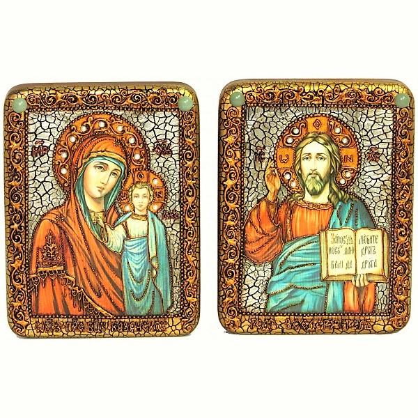 Инкрустированная пара икон на венчание «Казанская Богоматерь» и «Спаситель Господь Вседержитель» на мореном дубе (15*20 см, Россия) в подарочной коробке