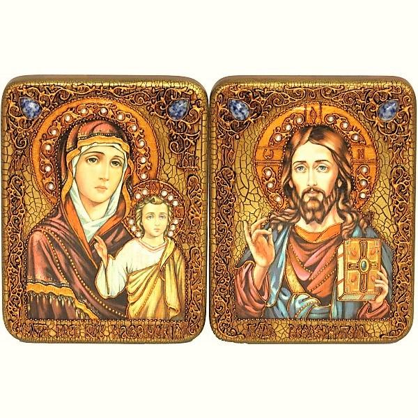 Инкрустированная пара икон на свадьбу «Казанская Богоматерь» и «Спаситель Господь Вседержитель» на мореном дубе (15*20 см, Россия) в подарочной коробке