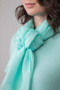 легкий тонкорунный экстра широкий шарф, бирюзовый цвет, TURQUOISE MERINO Merino Tartan 100% шерсть мериноса,   плотность 2