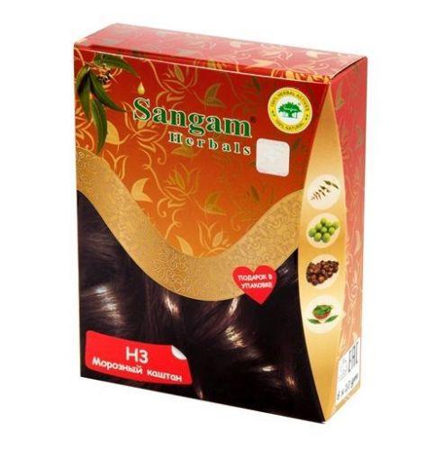 Краска для волос на основе хны | Морозный каштан | 60 гр | Sangam Herbals