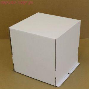 Коробка для торта, 260x260x280мм, гофрокартон, белая