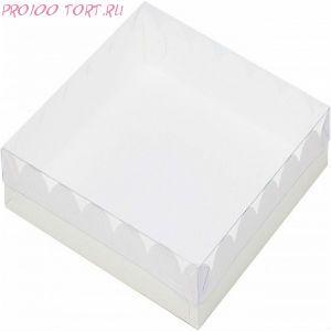 Коробка для печенья, пряников 155х155х35 белая с прозрачной крышкой /50/