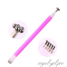 Ручка магнитная для гель лака двухсторонняя цветок+многоточие