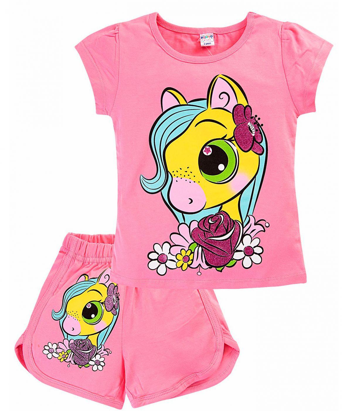 Комплект розовый из футболки и шорт Bonito
