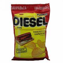 Чипсы TurboDiesel колбаски барбекю 75г Русскарт