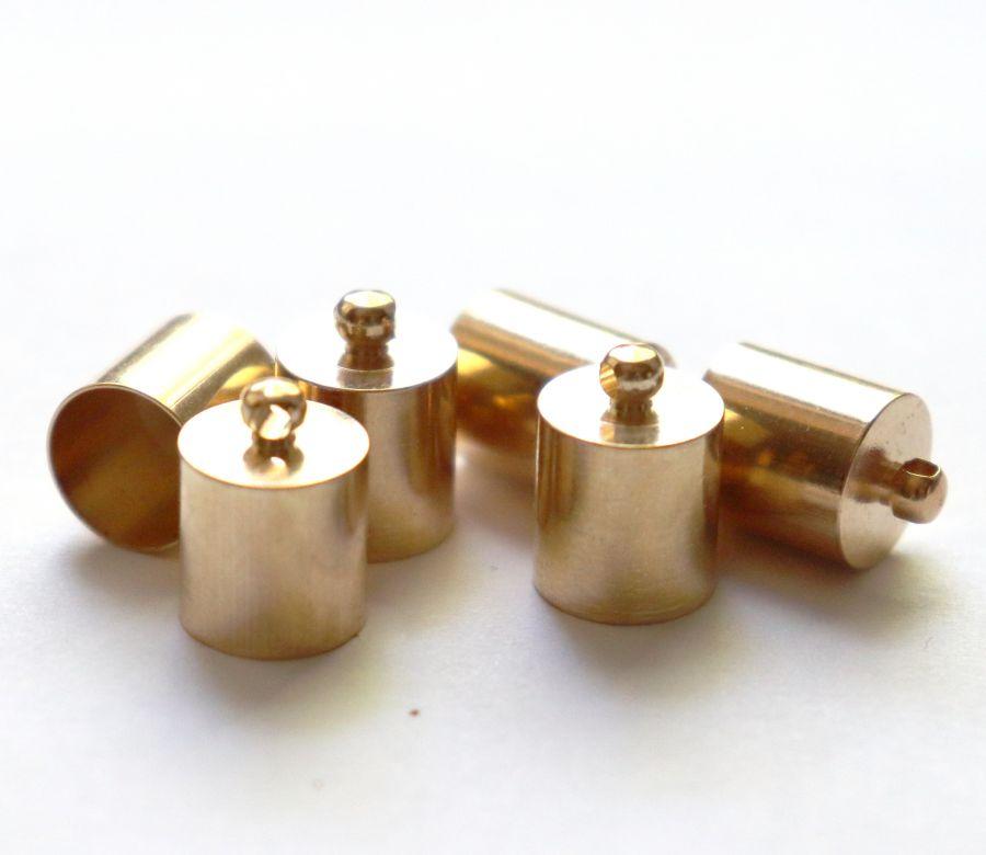 Колпачок цилиндр, с петелькой, D-10 мм, Золото, 6 шт/упак