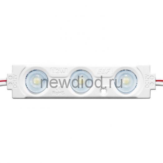 Модуль светодиодный ELF 3SMD диод 2835 PRO, с линзой, 160гр.,12В, IP 65, ncc, белый