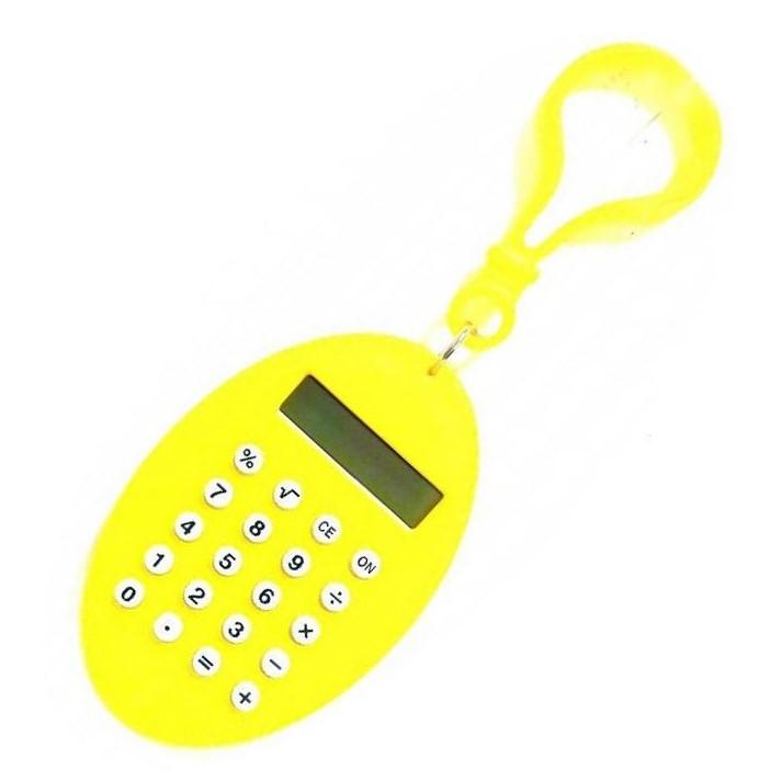 Брелок 8-разрядный калькулятор Овал, цвет желтый
