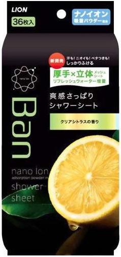 Lion Дезодорант-антиперспирант нано-ионный для всего тела в форме салфеток Refresh Shower Sheets Аромат Чистый цитрусовый 36 шт