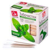 GRIFON Зубочистки из дерева с ментолом 500шт, в инд. п/п упаковке, арт. 400-513