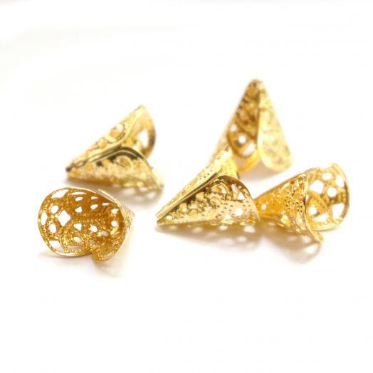 Шапочки для бусин, Колпачок № 15, цвет золото, 10 шт/упак