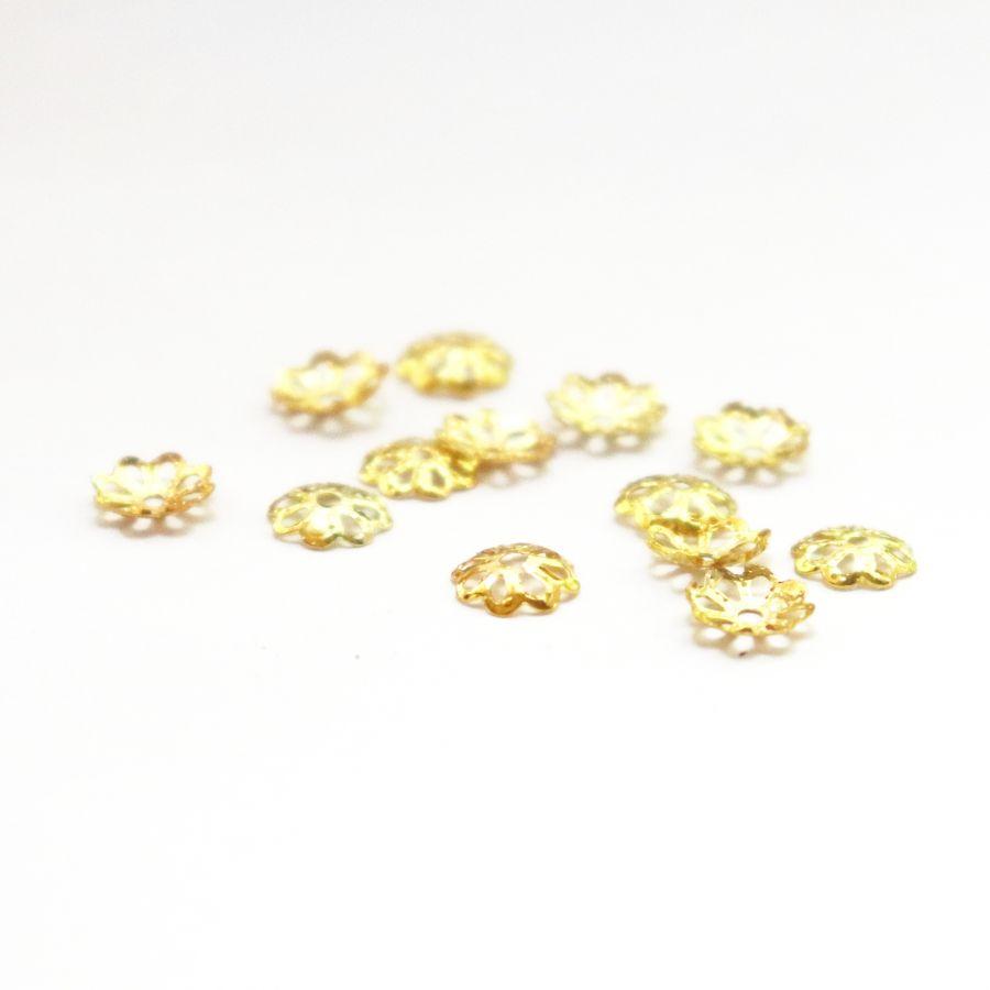 Шапочки для бусин, чеканное золото, 6 мм, 20 шт/упак