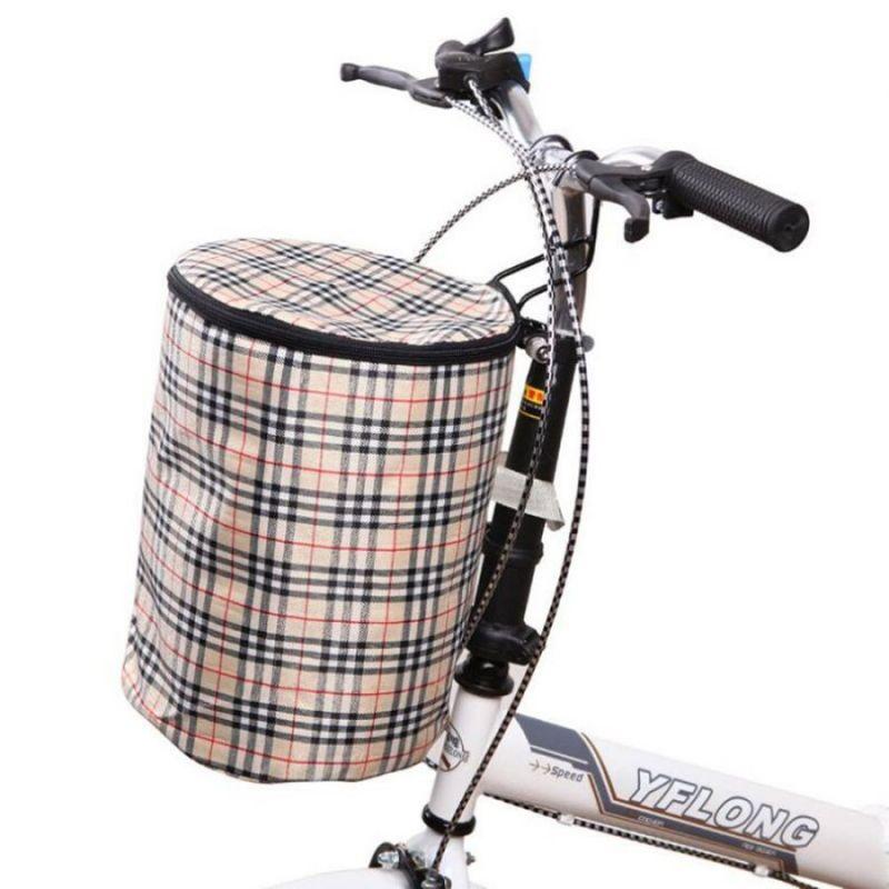 Складная подвесная тканевая корзина на руль велосипеда, 28х23 см, цвет бежевый