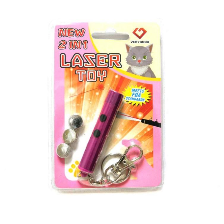 Игрушка Для Кошек Со Светящимся LED-Лучом Laser Toy, Цвет Малиновый