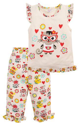 Пижама для девочек 3-7 лет Bonito бежевая с кошечкой