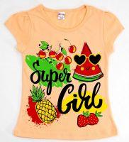 Футболка для девочек 4-8 лет Bonito kids персиковая