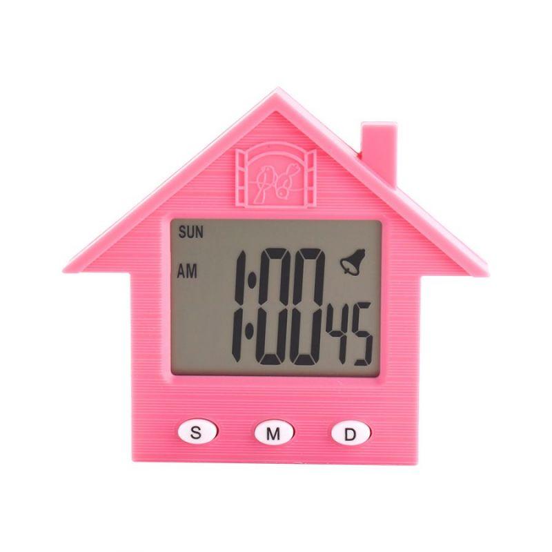 Электронные Часы-Будильник С Магнитом Домик NA-1638A, Цвет Розовый