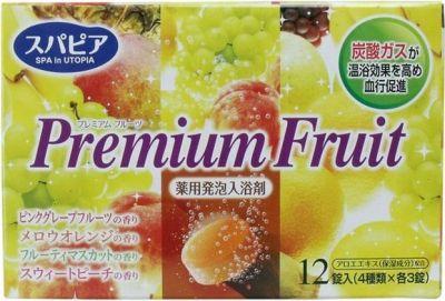 """""""Fuso Kagaku"""" """"Premium Fruits"""" Соль для ванны на основе углекислого газа с тонизирующим эффектом и ароматом сочных фруктов (12 таблеток*40 гр.)"""