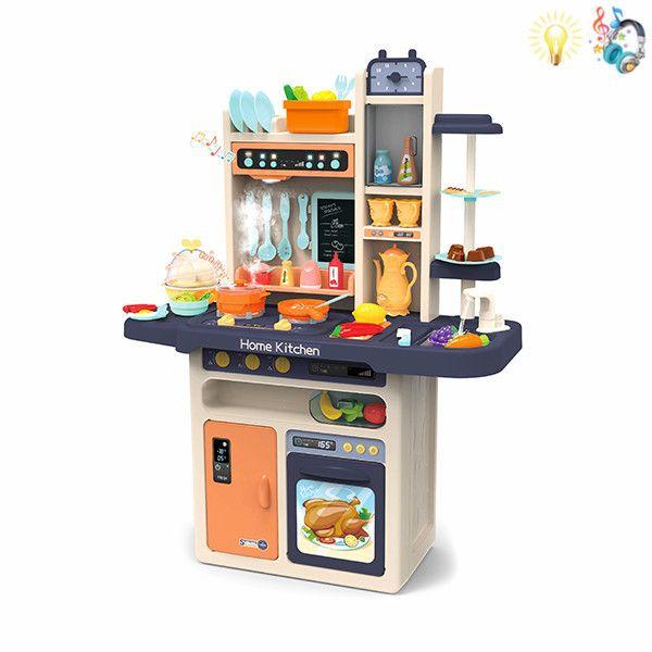 889-161 Детская игровая интерактивная кухня с водой, с паром, 65 аксессуаров, высота 94 см