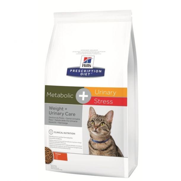 Корм сухой Hill's Diet Metabolic + Urinary Stress для взрослых кошек для коррекции веса и лечения мочекаменной болезни с курицей, 1,5кг
