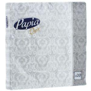 Салфетки бумажные Papia Decor, трехслойные, в ассортименте, 33 x 33 см, 20 шт