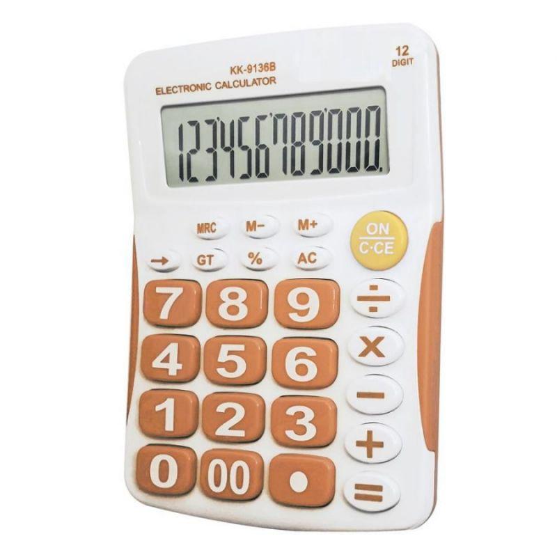 Настольный 12-Разрядный Калькулятор С Большими Кнопками Kaerda KK-9136B, Цвет Оранжевый