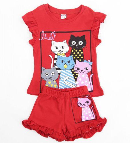 Комплект для девочек 1-4 лет Bonito красный с котятами