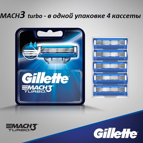 Лезвия Gillette Mach3 Turbo (4шт)