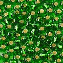 Бисер чешский 57120 зеленый прозрачный серебряный внутри (огонек) Preciosa 1 сорт