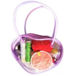 Мини-набор для шитья в сумочке Сердце, 12х9х3 см, Цвет: Сиреневый