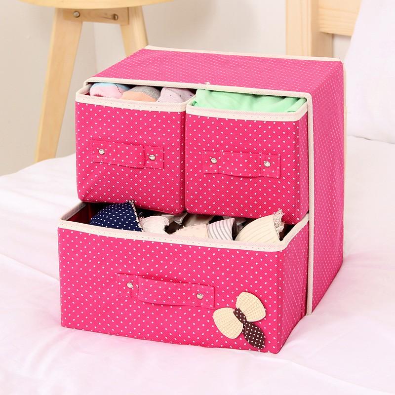 Складной мини-комод с 3 ящиками, 29х20х28 см, Цвет Розовый