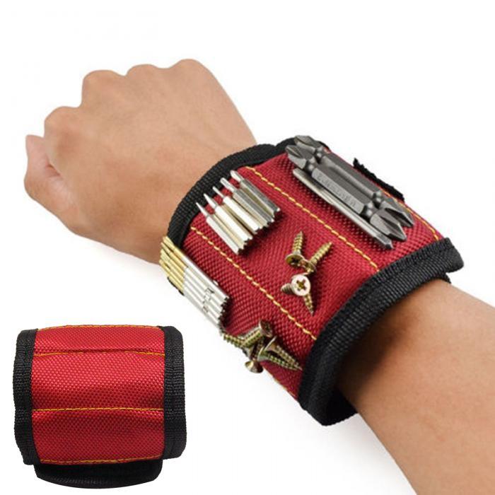 Строительный Магнитный Браслет Magnetic Wristband 5 Магнитов, Цвет Красный