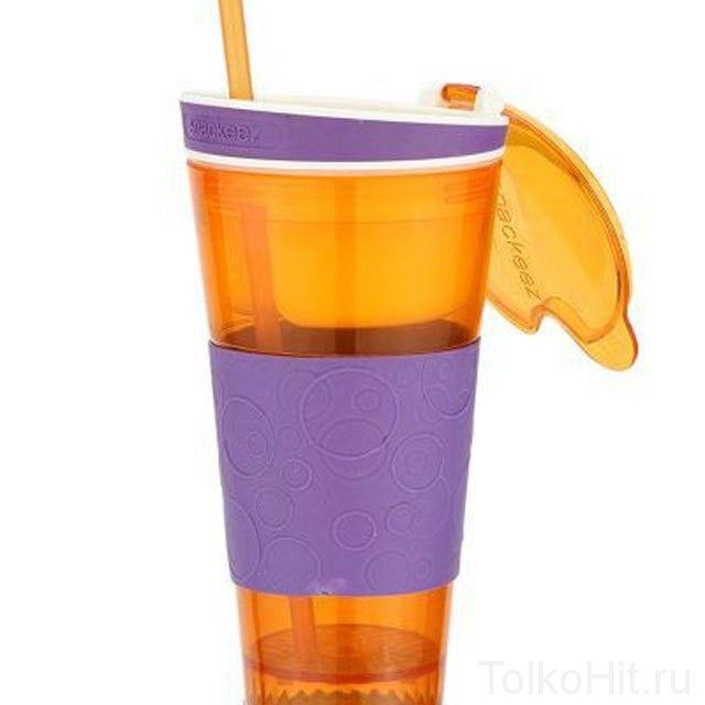 Стакан - контейнер непроливайка 2 в 1 Snackeez Оранжевый