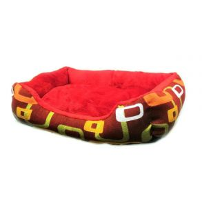 Прямоугольный лежак для животных, 40х32см, Цвет Коричневый, Рисунок Прямоугольники