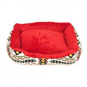 Прямоугольный лежак для животных, 40х32см, Цвет Бежевый, Рисунок Этно узор