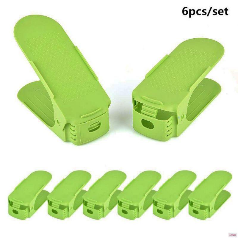 Двойная подставка для хранения обуви Shoe Slots, 6 шт, цвет зеленый