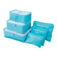 Набор дорожных сумок для путешествий Laundry Pouch, 6 шт, цвет голубой