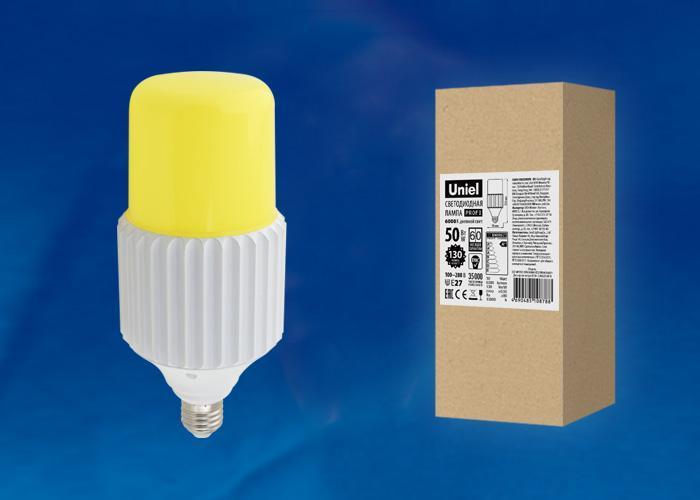 Лампа светодиодная сверхмощная (UL-00004063) E27 50W 6000K желтая LED-MP200-50W/6000K/E27/PH ALP06WH