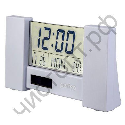 "Часы -будильник настол. Perfeo ""Сity"", белый, (PF-S2056) пит. солнеч. бат. и 2032, время, температура, дата"