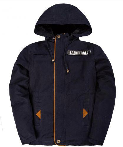 Куртка-ветровка с капюшоном для мальчиков 8-10 лет Bonito темно-синяя