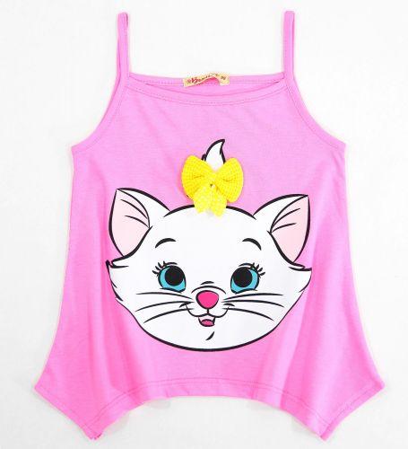 Майка для девочек 3-7 лет Bonito розовая с кошкой