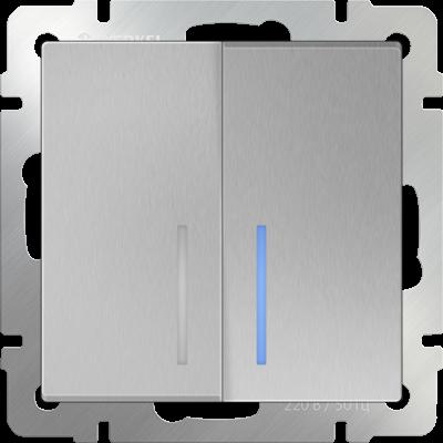 Выключатель двухклавишный с подсветкой WL06-SW-2G-LED Werkel Серебряный