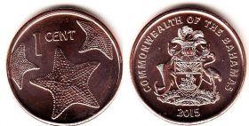 Монета Багамских островов 1 цент 2015 год.. Морская звезда.