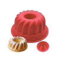 Силиконовая форма для выпечки кексов с отверстием, цвет красный