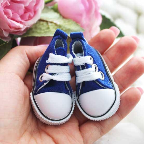 Обувь для кукол Кеды 5 см на шнурках (синие)