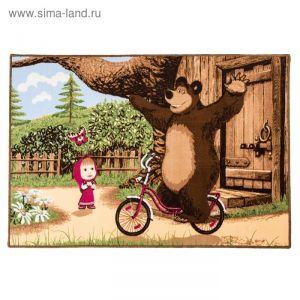Ковер велюровый На велосипеде, размер 100х150 см, цвет зеленый, полиамид   4224360