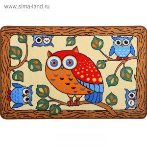 Ковер велюровый Сова, размер 80х120 см, цвет бежевый, полиамид 1408331