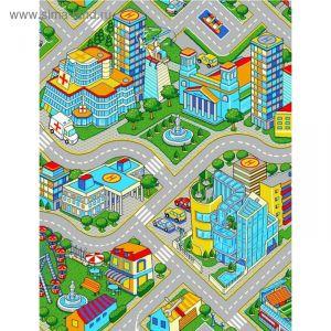 Палас принт Мегаполис, размер 150х200 см, цвет серый, полиамид 1984386