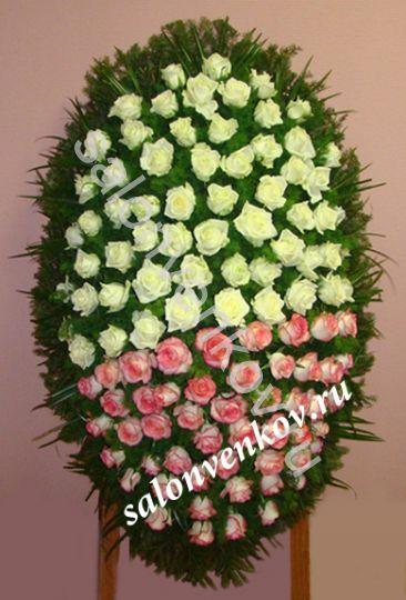 Элитный траурный венок из живых цветов №109, РАЗМЕР 100см,120см,140см,170см