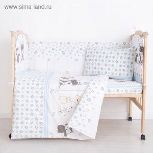 """Комплект в кроватку (6 предметов) """"Зверята"""", бязь, хл100%   4194238"""